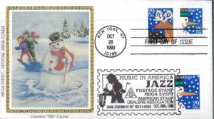 1993 New York City Mega Event Snowman Colorano Silk Cachet First Day Cover