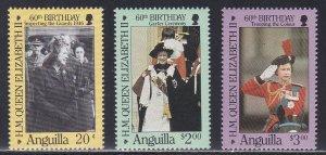 Anguilla # 674-676, Queen Elizabeth's 60th Birthday, Mint NH, 1/2 Cat.