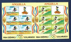 ANGUILLA - #559a-567a - VF MNH nine S/S - Disney Olympics + Rings- 1984