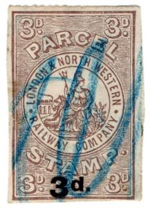 (I.B) London & North Western Railway : Parcel Stamp 3d on 3d OP