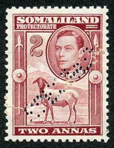 Somaliland Protectorate SG107 KGVI 2a Maroon Perf Specimen REPAIRED M/M