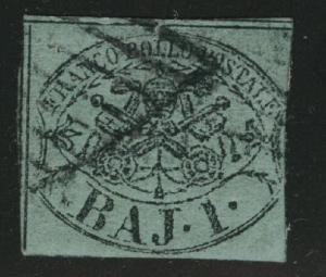 Roman or Papal States Scott 2a Used 1852 on blue green