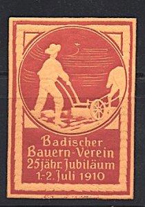 Cinderella Germany Baden Peasant Association 25th Anniversary 1910 Embossed
