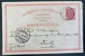 1893 Reykjavik Iceland Postal Stationery Postcard Cover To Deutz Germany
