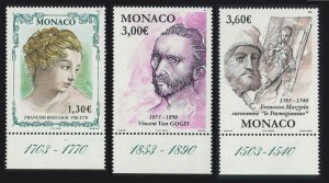 Monaco Van Gogh Boucher Mazzola Artists' Birth Anniversaries 3v 2003 MNH