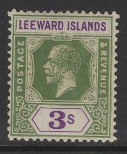 LEEWARD ISLANDS SG76 1922 3/- BRIGHT GREEN & VIOLET MTD MINT