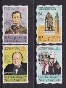 St. Christopher Nevis Anguilla   #290-293  MNH  1974  Churchill