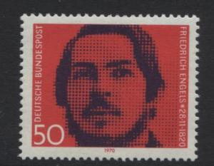 GERMANY. -Scott 1051 -Friedrich Engels - 1970- MNH - Single 50pf Stamp
