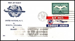 UN New York to Bogata,Colombia Braniff 1960 First Jet Flight Cover
