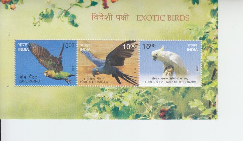 2016 India Exotic Birds (2) SS (Scott NA) MNH