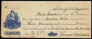 c064 U.S. unstamped promissory note. May 1875, orange and blue, female vignettes