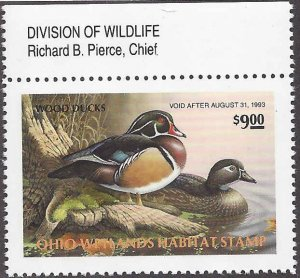 OH11 Mint,OG,NH... State Duck Stamp.. SCV $16.00... Division Chief
