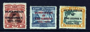 COOK ISLANDS 1935 The Overprinted Silver Jubilee Set SG 113 to SG 115 MINT