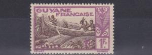 FRENCH COLONIES GUIANA  1929 - 39   1F   CHOCOLATE &  MAUVE       MH