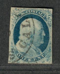 US Sc#9 Used/EF, Doporto Cert, Recut Twice Bottom, POS 10R1l, Sm. Thin, Cv. $100
