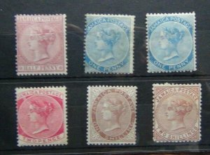 Jamaica 1870 - 1883 values to 2s MM (1d x 1 has a thin) Cat c£400