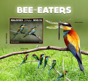 MALDIVES - 2019 - Bee-eaters - Perf Souv Sheet - MNH