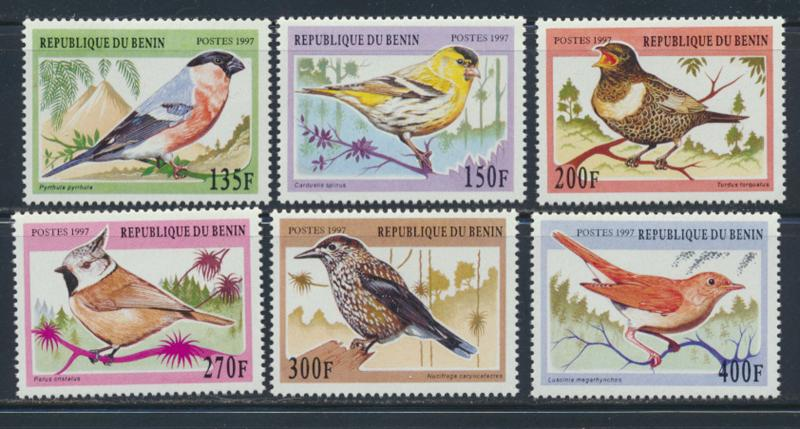 BENIN BIRDS 1997 SET OF 6 MNH