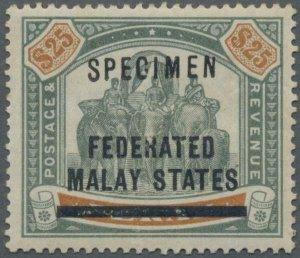 MOMEN: MALAYA PERAK SG #14s 1900 SPECIMEN MINT OG H LOT #60699