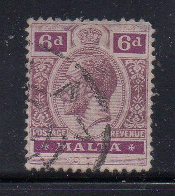 Malta Sc 58 1914 6d George V stamp used