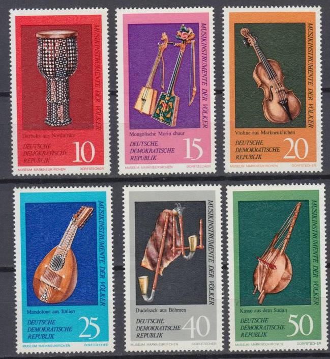 East Germany - DDR - 1971 Music Instruments Sc# 1330/1335 - MNH (8994)