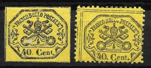 Doyle's_Stamps: Roman States, Italy, 1867 Postage Stamps, #17* & #24a*    (L34)