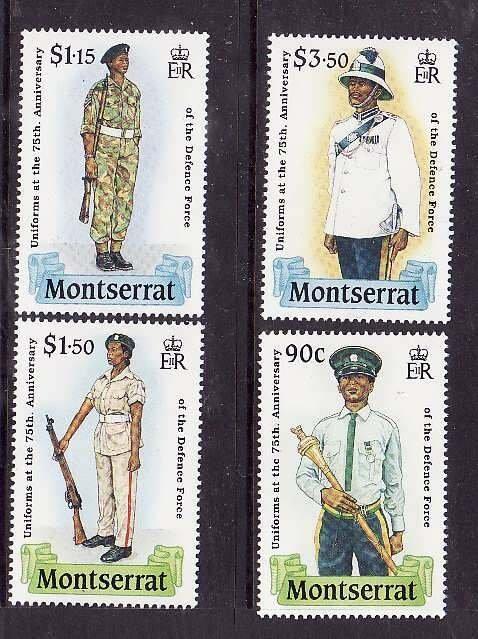 Montserrat-Sc#707-10- id5-unusedNH set-Military-Uniforms-1989-