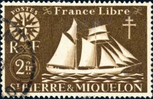 St-PIERRE-&-MIQUELON - 1942 - Yv.304/Mi.307 2fr sépia - Oblitéré TB
