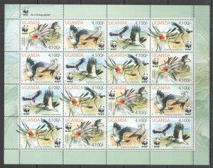 NW 2012 UGANDA WWF SECRETARYBIRD BIRDS FAUNA #3000-3003 !!! 100 FULL SH MNH