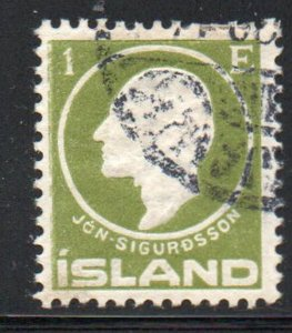 Iceland  Sc 86 1911 1 e Jon Sigurdsson stamp used