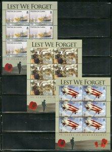 TRISTAN DA CUNHA 90th ANN OF WORLD WAR I SCOTT #850/55  SHEET SET MINT NH