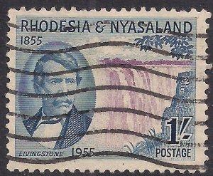 Rhodesia & Nyasaland 1955 QE2 1/-d Livingstone Falls Used SG 17 ( C1016 )