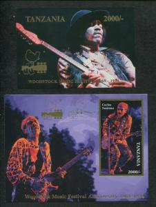 Tanzania Commemorative Souvenir Stamp Sheets Woodstock - Jimi Hendrix - Santana
