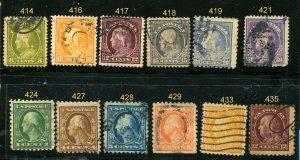 US WASH/FRANKLIN - #414,16,17,18,19,21,24,27,28,33,35   (12 Total)⭐⭐⭐⭐