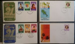 Commonwealth 1982 Royal Birthday Diana & 1980 Queen Mother Nevis & St Kitts