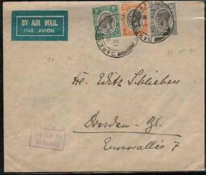 KENYA UGANDA TANGANYIKA 1934 airmail cover to Germany BY AIR TO BRINDISI...33317