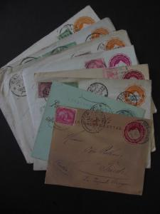 EGYPT : Scarce group of 10 Uprated Envelopes. Nice markings & destinations