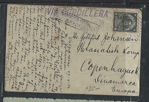 CHILE  (P3108B)   1916   8C ON PPC MARITIME CANCEL TO DENMARK