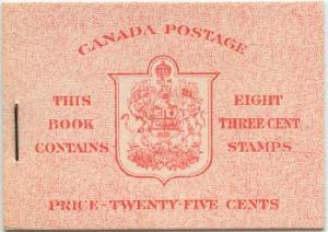 Canada - 1942 3c Carmine English Booklet #BK34c
