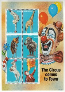 Sierra Leone MNH S/S Circus Comes To Town 6 Stamps