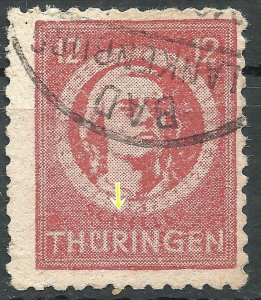 Gemany Allied Occupation Thuringen 99 Plate Flaw