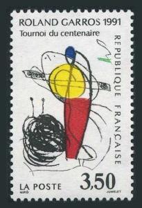 France 2258,MNH.Mi 2837. Tennis Roland Garros,centenary,1991.Art by Joan Miro.