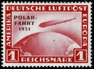 GERMANY 1931 AIR POLAR FLIGHT 1m CARMINE SG469 UNUSED (MH) Wmk.45 P.14 SUPERB