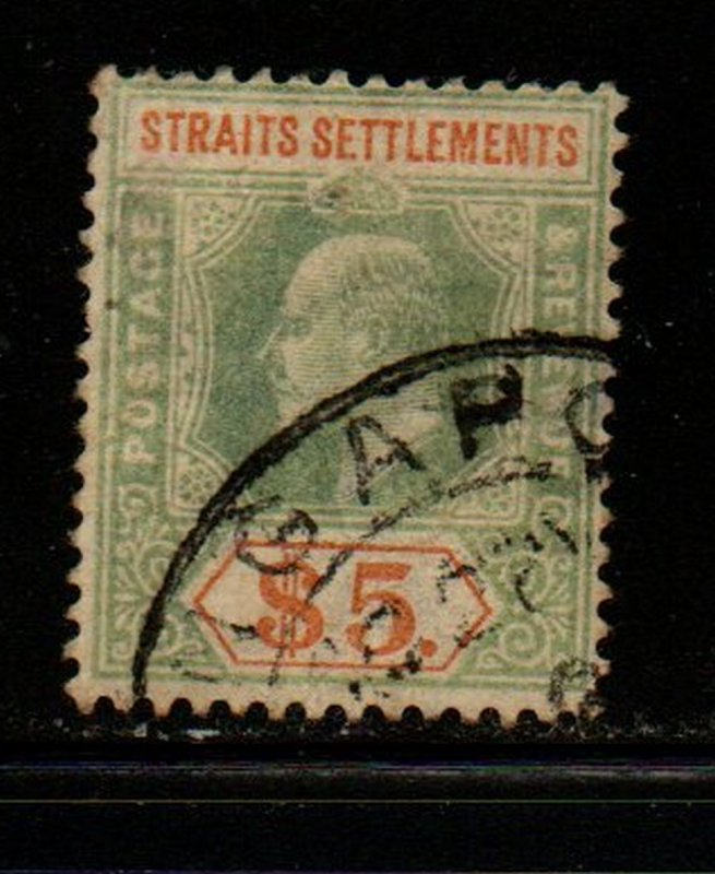 Straits Settlements Sc 104 1902 $5 green & brown orange Edward VII stamp used