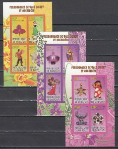 Djibouti, 2009 Cinderella issue. Cartoons & Orchids on 3 IMPERF sheets of 4.