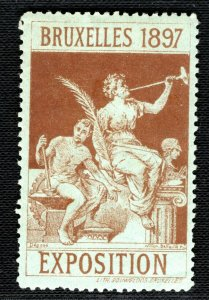 BRUSSELS EXHIBITION STAMP/LABEL Belgium 1897 Mint MM BROWN Blue Paper B2WHITE25