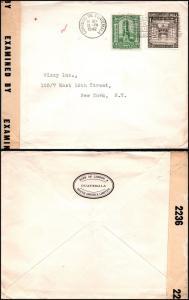 Goldpath: Guatemala WWII censored cover 1942, to U.S.A.  _CV23_P12