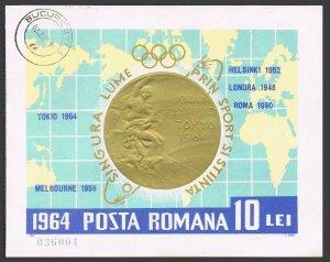Romania 1698a,CTO.Michel Bl.59. Olympics.Romanian Gold Medals.Map,Satellites.