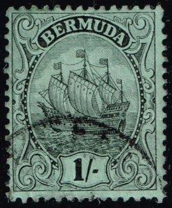 UK STAMP BERMUDA  1910 -1925 Caravel 1 SH BLACK GREEN PAPER USED