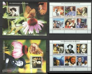 NS305 2003 GUINEA-BISSAU CELEBRITIES JOHN PAUL II DARWIN BUTTERFLIES 2BL+2KB MNH